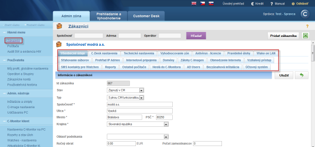 Tabs of customizable customer's settings