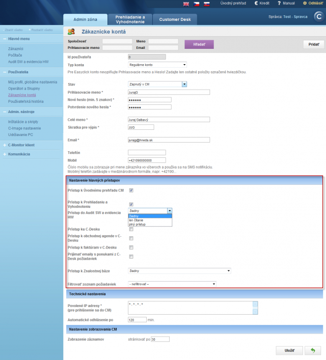 Options of settings of main accesses for a customer account