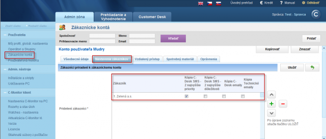 Assignment of customer account to customer and setup of sending copies of emails from C-Desk and technical section
