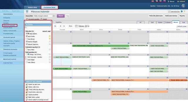 Zoznam operátorov v kalendári