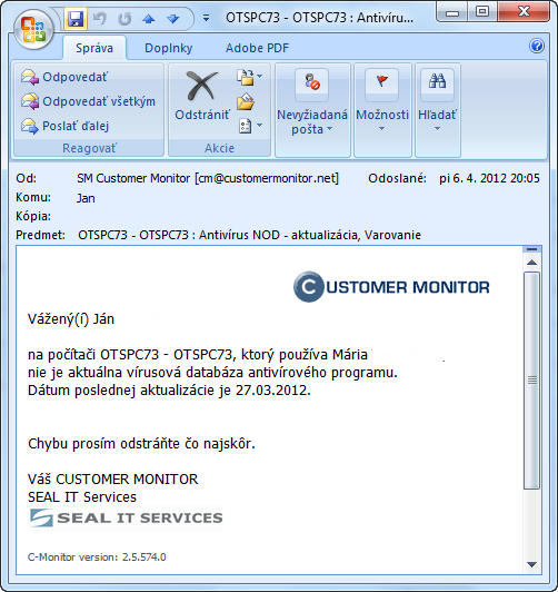 Example of E-mail notification about antivirus error