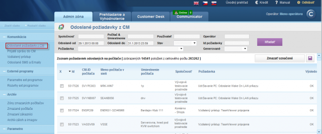 View of requests sent from CM portal to individual PCs