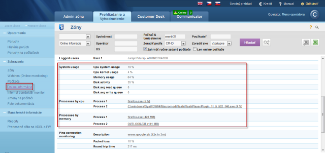 Online info on CM portal - current status and highlighting of the lines with CPU, Memory processes