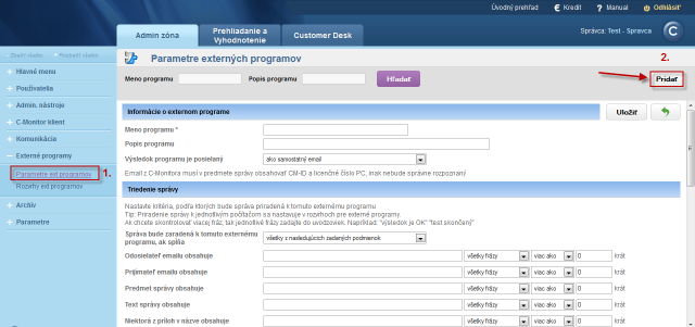 Parameters for definition of an external program