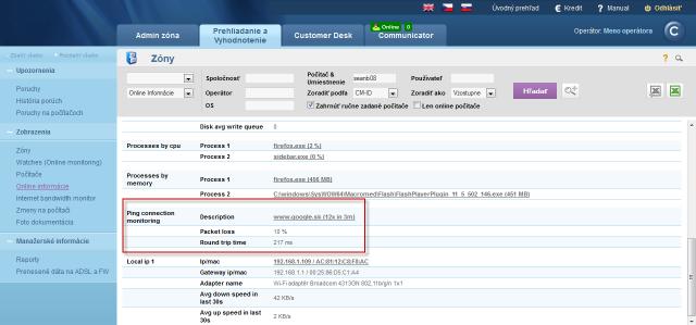 View of Ping PL,RTT through Online information