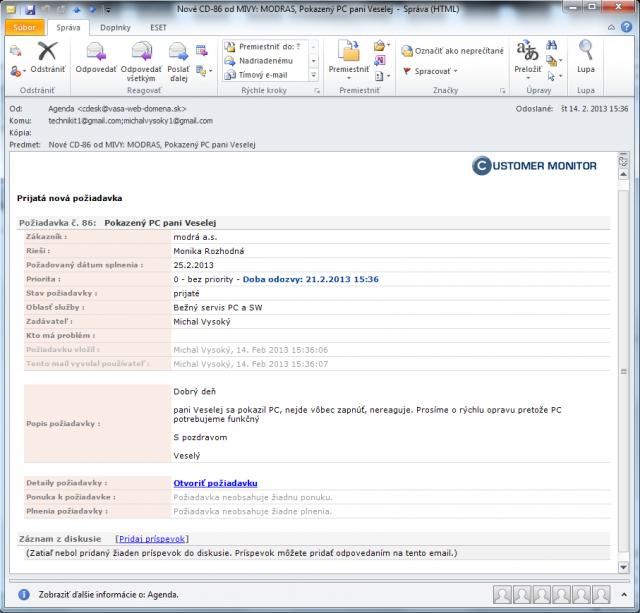 Email upozorňujúci na novú požiadavku v plnej forme