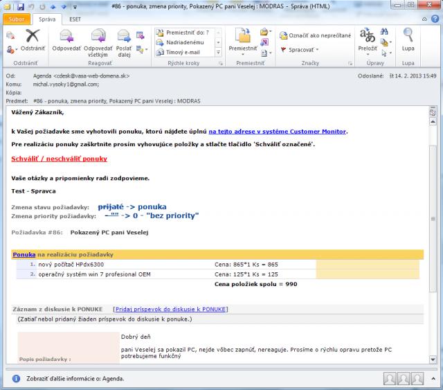 Email upozorňujúci na zmenu stavu požiadavky na ponuka v skrátenej forme