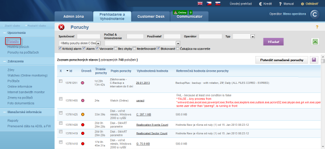 View of the list of errors on devices registered on CM portal