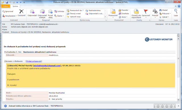 Potvrdzovací email z C-Desku o pridaní diskusného príspevku