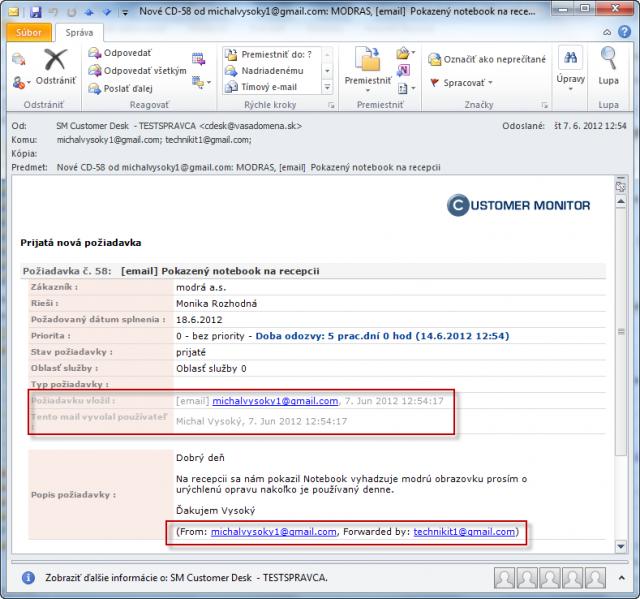 Potvrdzujúci email o úspešnom vytvorení požiadavky