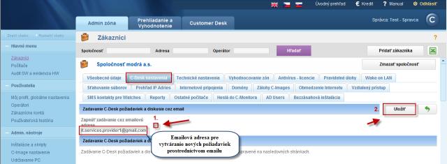Povolenie zadávania požiadaviek cez email v nastaveniach