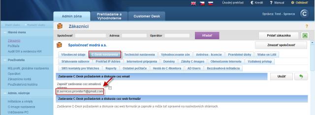Zadávanie požiadaviek cez email od operátora v mene zákazníka sa realizuje fw na emailovú adresu, ktorá sa zobrazí v Admin zóna -> Hlavné menu -> Zákazníci -> konkrétny zákazník -> C-Desk nastavenia -> zapnúť zadávanie cez emailovú adresu