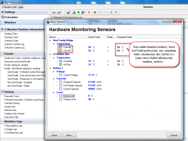 Selection of items for HW monitoring on computers, predefining the monitored values