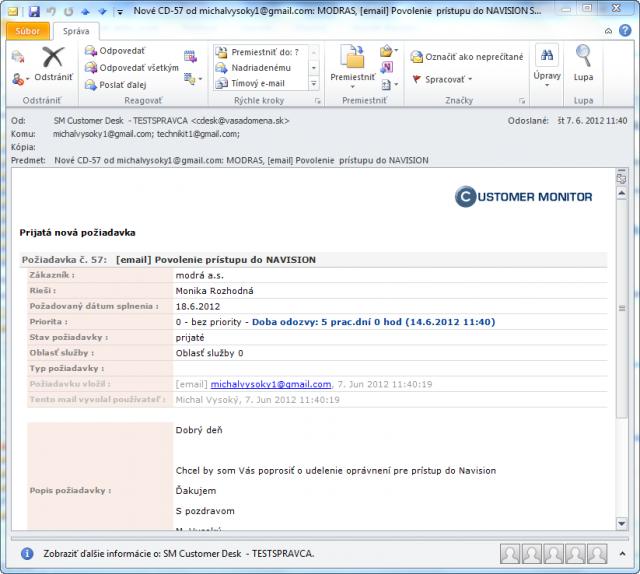 Potvrdzujúci email o úspešne pridanej novej požiadavke
