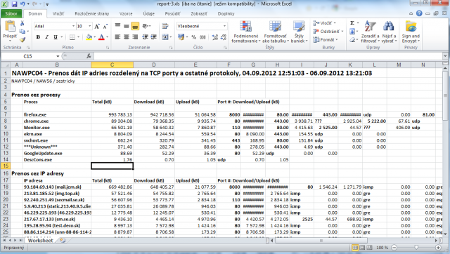 Export of transferred data into excel