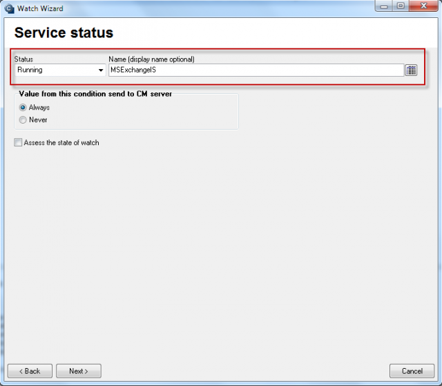 Monitoring of function of Exchange Server services