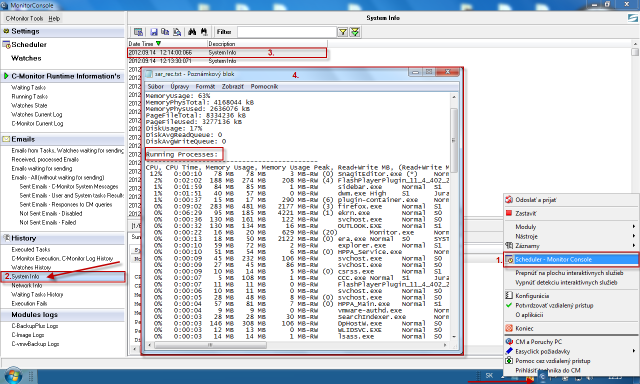 System information from C-Monitor Console
