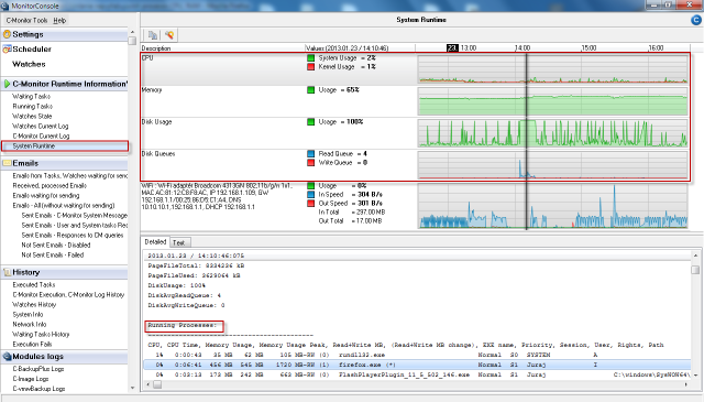 View of System Runtime in C-Monitor Windows client