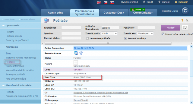 View of type of the user logged on PC and information if UAC is turned on/off