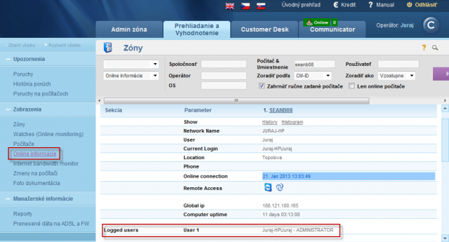 View of type of the user logged on PC in the section Online information