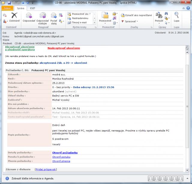Email upozorňujúci na zmenu stavu požiadavky na ukončená v plnej forme