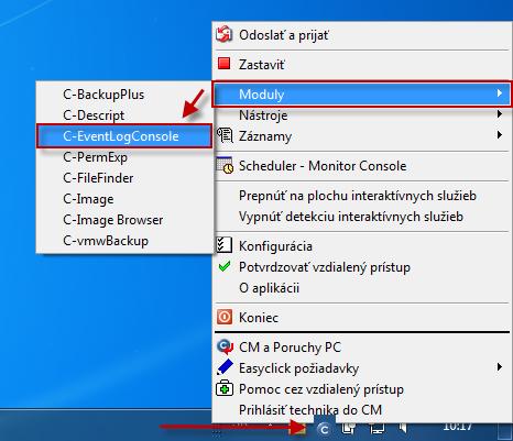 Vstup do modulu C-EventLogConsole cez tray menu C-Monitor ikonky