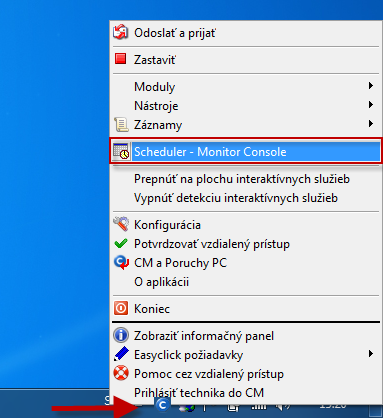 Entry to Scheduler - Monitor Console