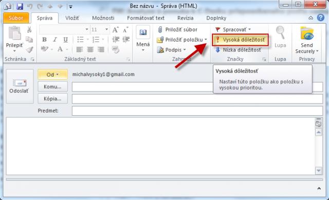 Email s príznakom Vysokej dôležitosti