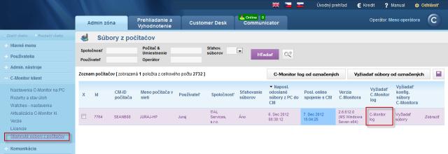Access to displaying the C-Monitor Log via CM portal