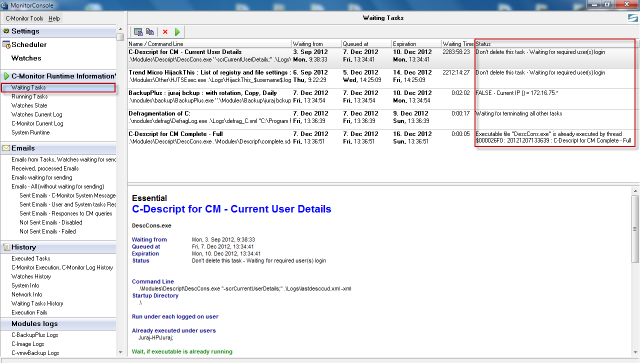View of waiting tasks through C-Monitor client