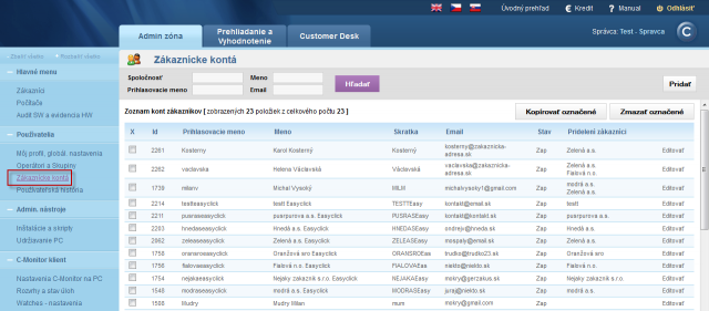 View of the list of customer accounts
