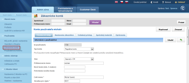 Settings of customer account